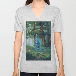 Forest magic crystal landscape Unisex V-Neck