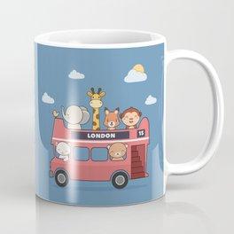 Kawaii Cute Zoo Animals On A London Bus Coffee Mug