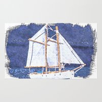 sailboat Area & Throw Rugs featuring Sailboat by Michael P. Moriarty