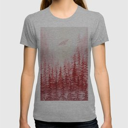 """Red Forest"" watercolor landscape painting T-shirt"