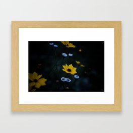 Yellow Flower in a Blue World Framed Art Print