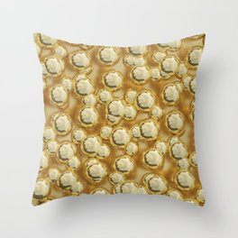 Golden bubbles Throw Pillow