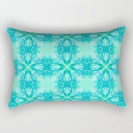 Aqua Poppy Pattern Rectangular Pillow