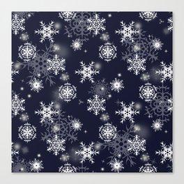 White snowflakes on dark blue Canvas Print
