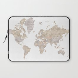 """World map in gray and brown watercolor """"Abey"""" Laptop Sleeve"""