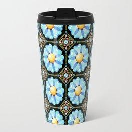 Blue Floral Millefiori Travel Mug
