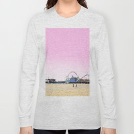 Santa Monica Pier with Ferries Wheel and Roller Coaster Against a Pink Sky Long Sleeve T-shirt