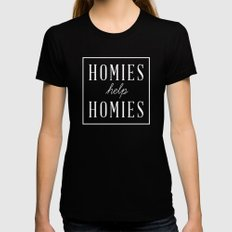 Homies Help Homies Womens Fitted Tee LARGE Black