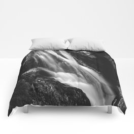 Black and white waterfall in Hell Gorge, Slovenia Comforters