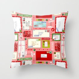 Kids Letters to Santa l Christmas Pattern - Pink Throw Pillow