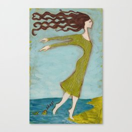 Flying Girl Adapts to New Worlds, or Fish Lessons Canvas Print