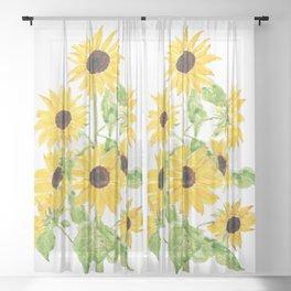 yellow sunflower watercolor painting 2021 Sheer Curtain