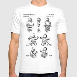 Legos Patent - Block Man Art - Black And White T-shirt