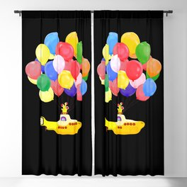 Flying Submarine with Colourful Balloons Black Blackout Curtain