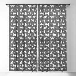 White Cats and Paw Prints Pattern on Black Sheer Curtain