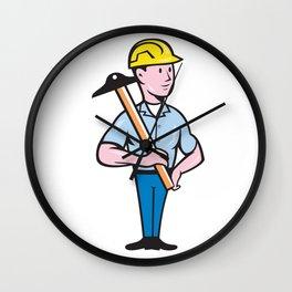 Engineer Architect T-Square Cartoon Wall Clock