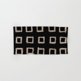 Square Stroke Dots Nude on Black Hand & Bath Towel