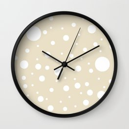 Mixed Polka Dots - White on Pearl Brown Wall Clock