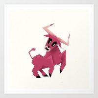 taurus Art Prints featuring Taurus! by Yetiland