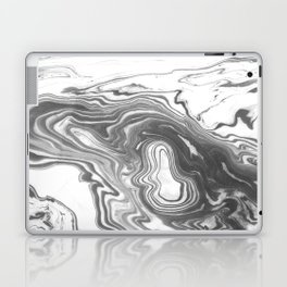 Katsuro - spilled ink marble paper map topography painting black and white minimal ocean swirl  Laptop & iPad Skin