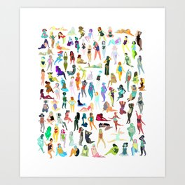 100 tiny ladies Art Print