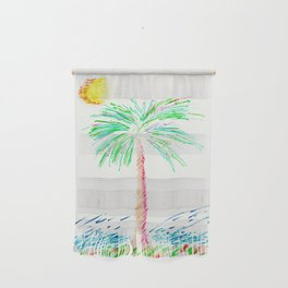 """""""Lonely Palm"""" Mixed Media Sketch Wall Hanging"""