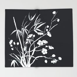 bamboo and plum flower white on black Throw Blanket
