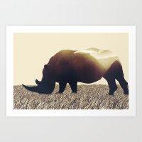 rhino Art Prints featuring Rhino by Yaroslav Greb