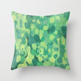 Graffiti wall intense green Throw Pillow