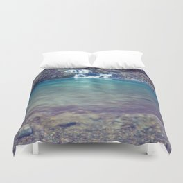 Teal Blue Waterfall Cove Duvet Cover