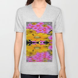PINK-YELLOW FLORALS REFLECTED WATER ART Unisex V-Neck