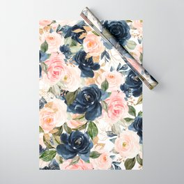 Navy Pink Watercolor Floral Pattern Nursery Flowers Wrapping Paper