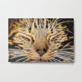 The Neon Cat Metal Print