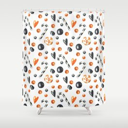 Happy halloween pattern with candies and lollipops Shower Curtain