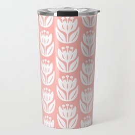 Mid Century Modern Flower Pattern Peach 333 Travel Mug