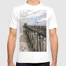 Cocoa Beach Pier White Mens Fitted Tee MEDIUM