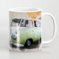volkswagen Mugs featuring vintage volkswagen by d.ts