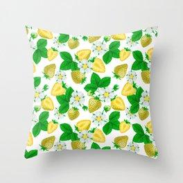 Yellow strawberries  Throw Pillow