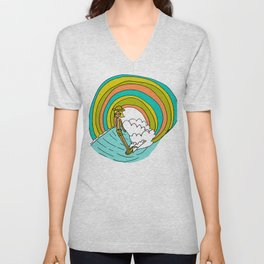 groovy vibes hang 10 by surfy birdy Unisex V-Neck