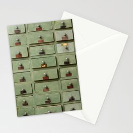 Old wooden cabinet with drawers Stationery Cards