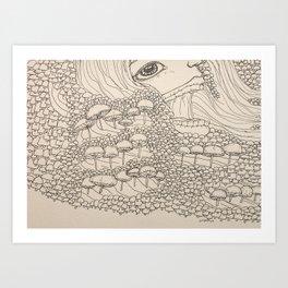 Woman in a field of mushrooms Art Print