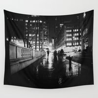 new york city Wall Tapestries featuring New York City Noir by Vivienne Gucwa