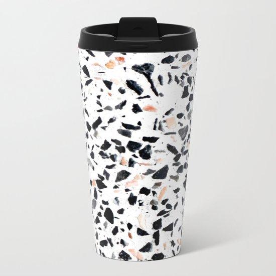 Terrazzo Stone Pattern Black and Orange Peach Metal Travel Mug
