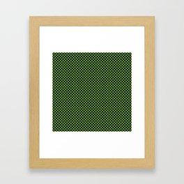 Black and Jasmine Green Polka Dots Framed Art Print