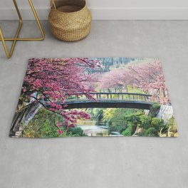 Cherry Tree Blossoms of Spring Along the River Portrait Painting Rug