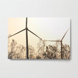 Sunrise with Wind Turbines  Metal Print