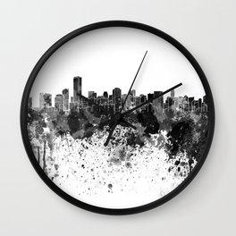 Miami skyline in black watercolor Wall Clock