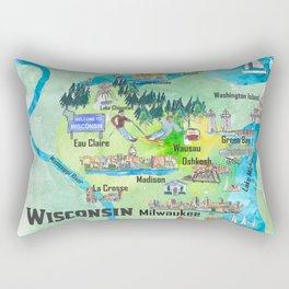 Wisconsin USA State Illustrated Travel Poster Favorite Tourist Map Rectangular Pillow