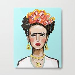 Frida Aqua Metal Print