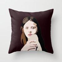goth Throw Pillows featuring Mia Goth by Anna McKay